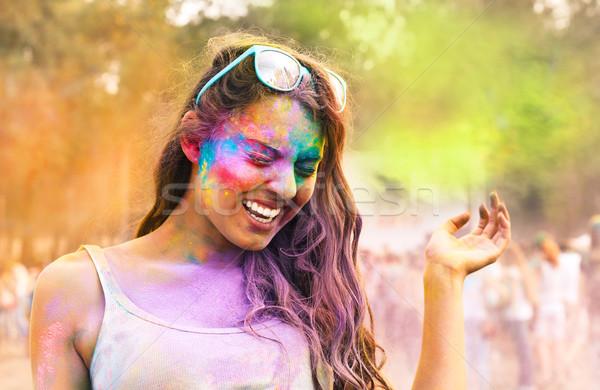 Glücklich junge Mädchen Farbe Festival Porträt Frühling Stock foto © dashapetrenko