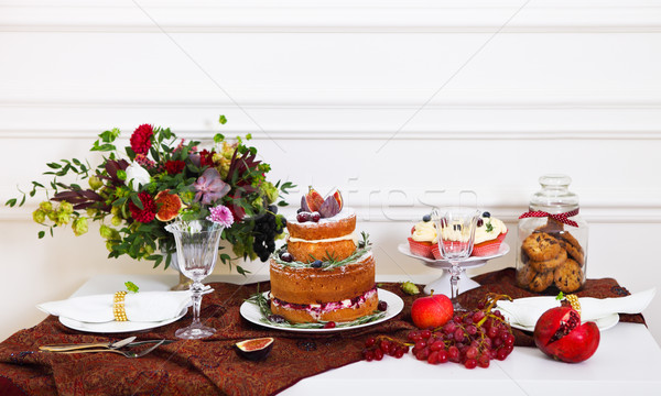 Dessert table serviced for a wedding Stock photo © dashapetrenko