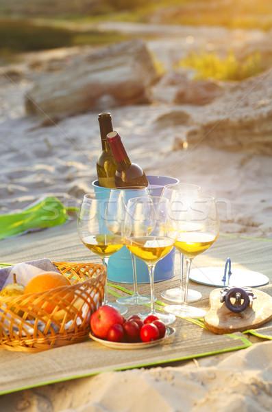 Glasses of the white wine on the summer picnic Stock photo © dashapetrenko
