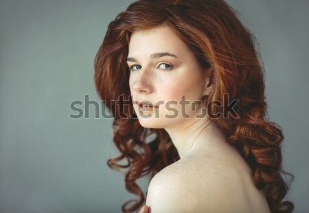 Beautiful young redhead woman with freckles portrait  Stock photo © dashapetrenko