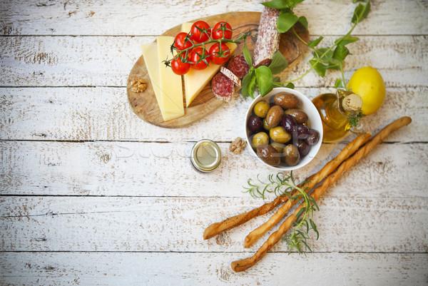 İtalyan gıda malzemeler ahşap üst görmek arka plan Stok fotoğraf © dashapetrenko