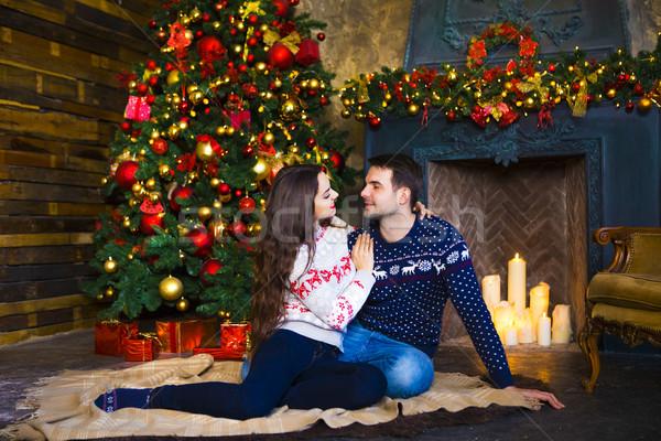 Stok fotoğraf: şömine · Noel · sevmek · ilişki