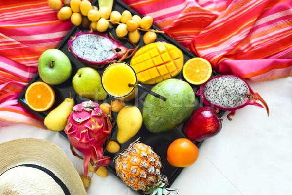 экзотический плодов лоток продовольствие фрукты Сток-фото © dashapetrenko