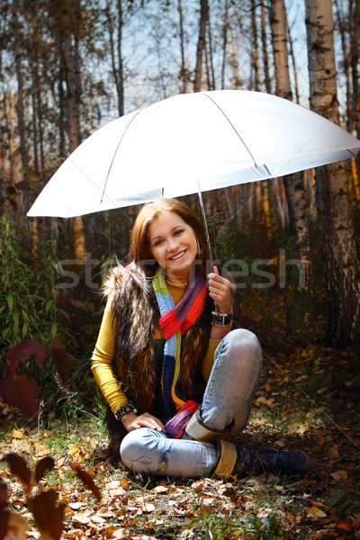 Young attractive smiling girl in autumn forest Stock photo © dashapetrenko