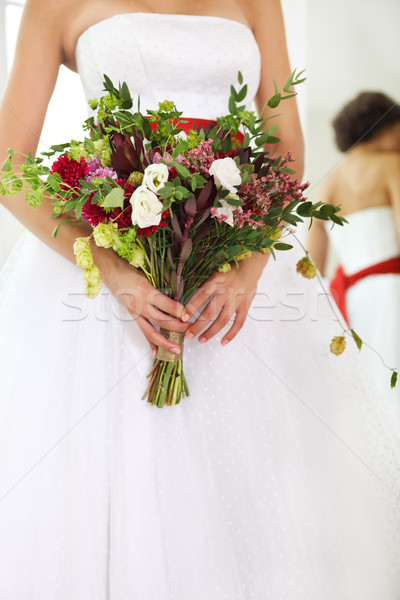 Unusual wedding bouquet with succulent flowers and hop  Stock photo © dashapetrenko