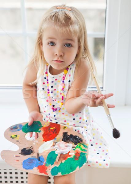 Stockfoto: Cute · meisje · tekening · palet · borstel