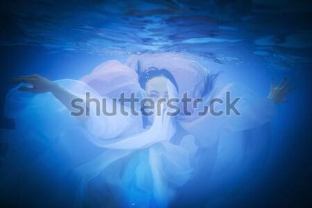 Vízalatti közelkép portré nő úszómedence víz Stock fotó © dashapetrenko