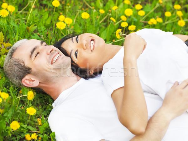 Jovem amoroso casal grama verde dandelion primavera Foto stock © dashapetrenko