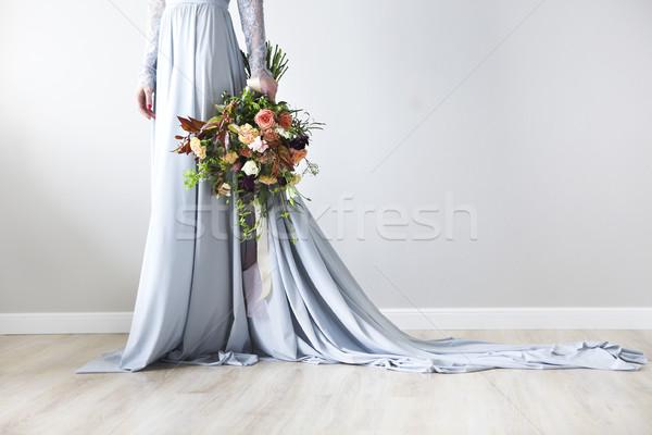 Stockfoto: Ongebruikelijk · bruiloft · stijlvol · boeket · handen · bruid