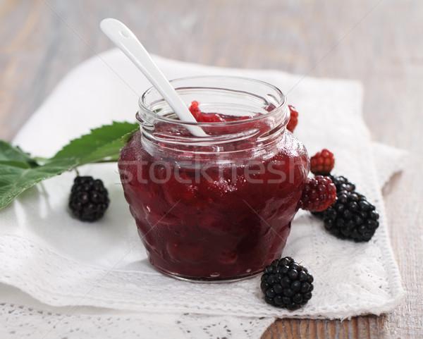 BlackBerry confiture fraîches table en bois alimentaire Photo stock © dashapetrenko