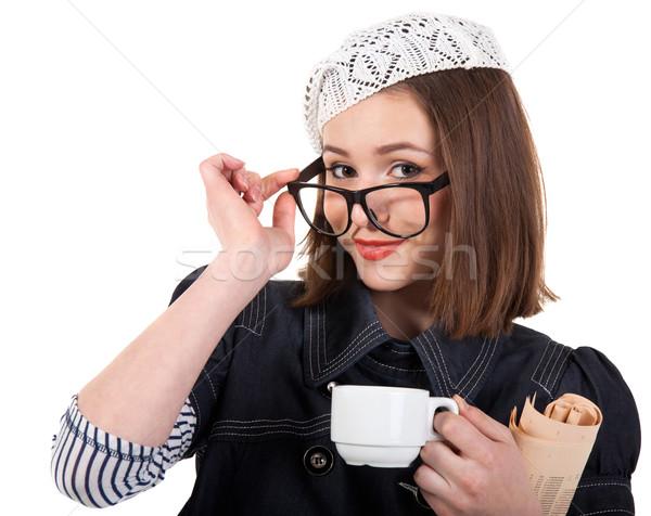 かわいい ブルネット 少女 カップ コーヒー 新聞 ストックフォト © dashapetrenko