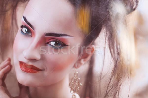 Közelkép stilizált portré japán gésa fényes Stock fotó © dashapetrenko