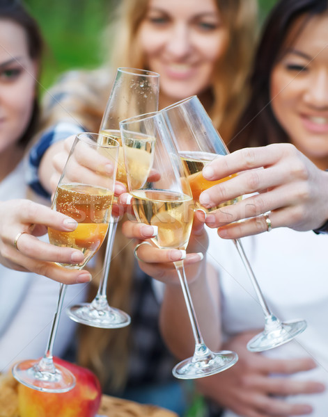 Celebration. People holding glasses of champagne making a toast  Stock photo © dashapetrenko