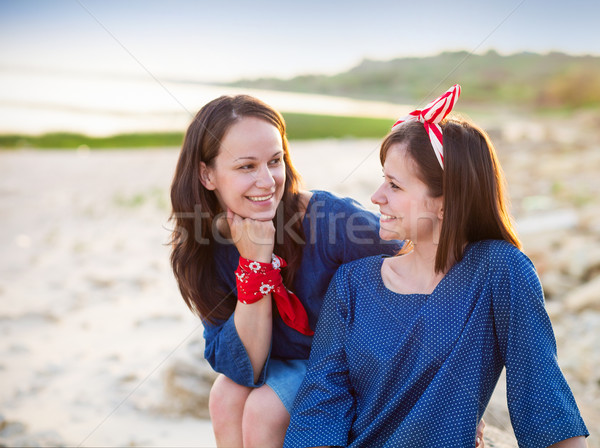 Portrait of a happy mother and her teen daughter  Stock photo © dashapetrenko