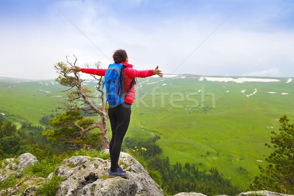 Stockfoto: Vrouw · handen · omhoog · top · berg · wandelaar · rugzak