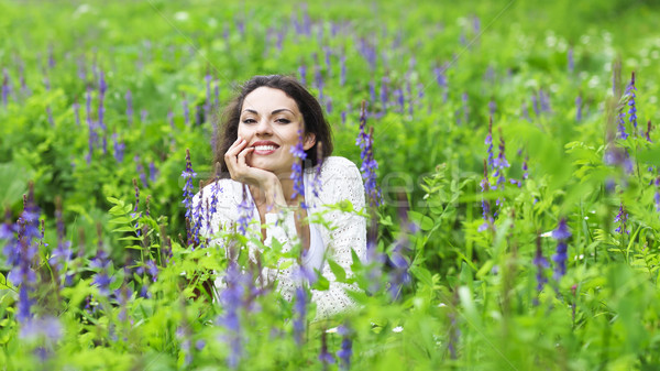 Heureux joli brunette femme champ de fleurs cute Photo stock © dashapetrenko