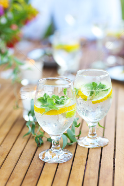 Natuurlijke limonade tabel twee bril zomer Stockfoto © dashapetrenko