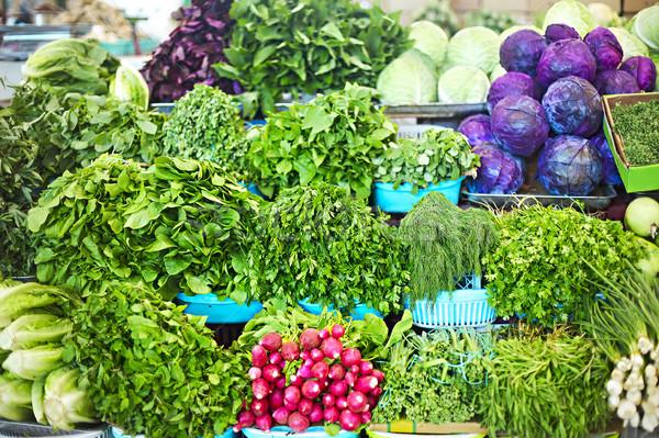 Greenery and herbs at asian market Stock photo © dashapetrenko