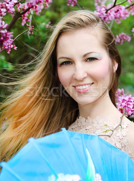 Szőke nő gésa smink kint mosolyog Stock fotó © dashapetrenko