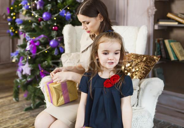 幸せ 母親 娘 ラッピング クリスマス 贈り物 ストックフォト © dashapetrenko