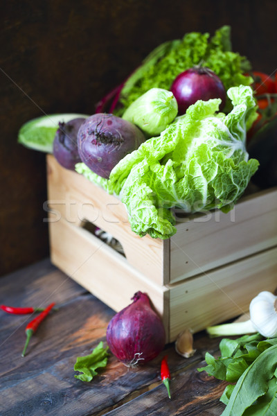 Organic raw vegitables in wooden box. Healthy diet and nutrition Stock photo © dashapetrenko