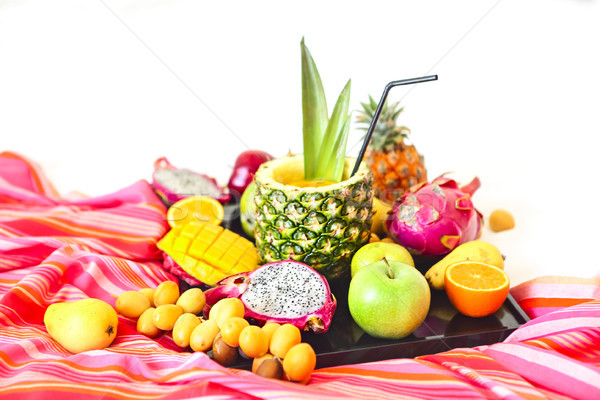 Exotique fruits plateau alimentaire fruits Photo stock © dashapetrenko