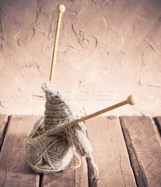 Ball of yarn on a wooden table Stock photo © dashapetrenko