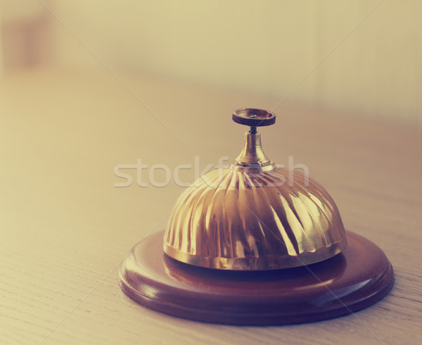 old hotel bell on a wood stand Stock photo © dashapetrenko