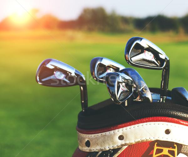Golfütők zöld mező nyár naplemente golf Stock fotó © dashapetrenko