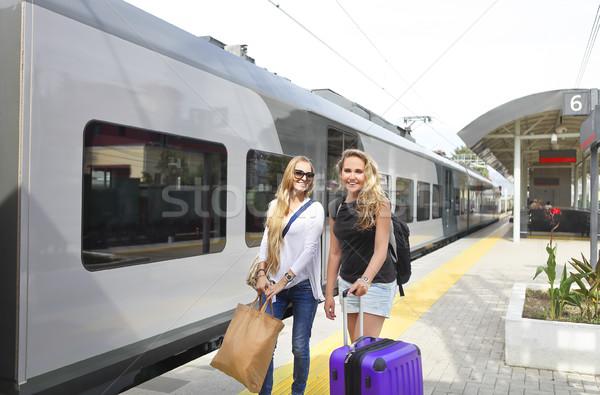 Happy young girls female friends traveling Stock photo © dashapetrenko