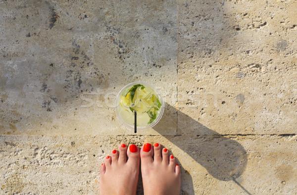 Limonade Glas Stein Eis Gläser trinken Stock foto © dashapetrenko