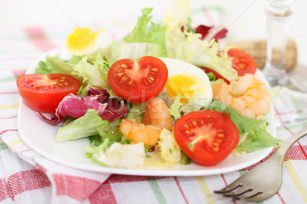 Tasty fresh salsd with shrimps Stock photo © dashapetrenko