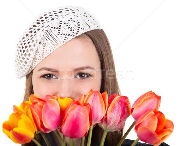 Aranyos lány párizsi stílus tulipán virágok Stock fotó © dashapetrenko
