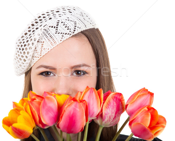 Cute девушки парижский стиль Tulip цветы Сток-фото © dashapetrenko