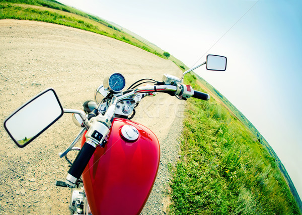 Drivers view of the cockpit in a modern motorcycle Stock photo © dashapetrenko