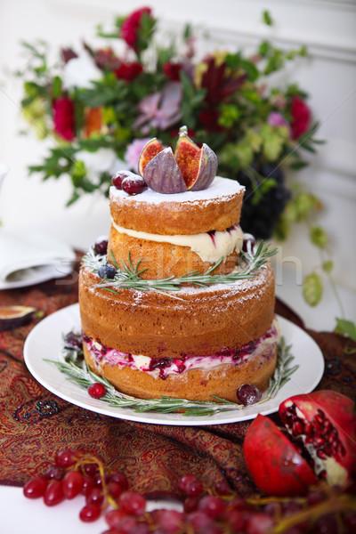 Stok fotoğraf: Kek · çiçekler · tatlı · tablo · düğün · pastası