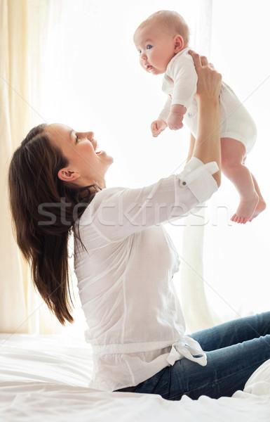 Portre anne çocuk gülme oynama mutlu Stok fotoğraf © dashapetrenko