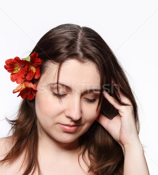 Portrait of the beauty young brunette girl Stock photo © dashapetrenko