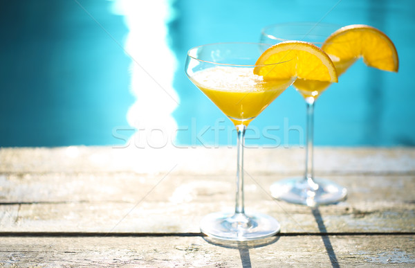 Champagne bril orange slice cocktail zomer zwembad Stockfoto © dashapetrenko