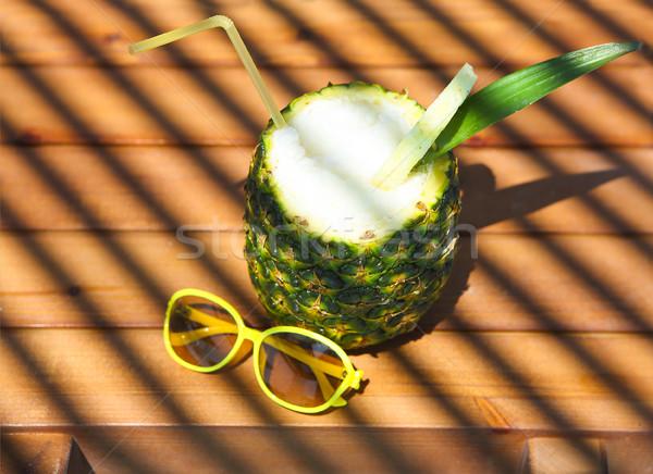 Pineaple exotic cocktail on wooden background Pina colada Stock photo © dashapetrenko