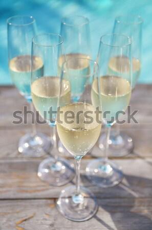 シャンパン 眼鏡 銀 トレイ 屋外 パーティ ストックフォト © dashapetrenko