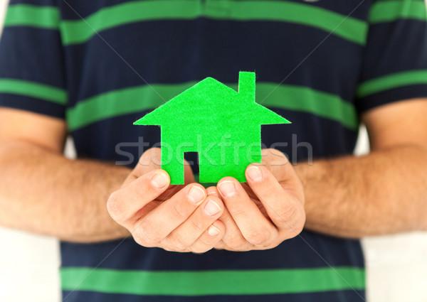 Kezek férfi tart üvegház ház kéz Stock fotó © dashapetrenko