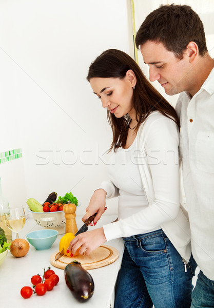 Portrait heureux couple cuisine sourire Photo stock © dashapetrenko