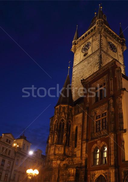 Oude binnenstad hal markt vierkante nacht Praag Stockfoto © dashapetrenko