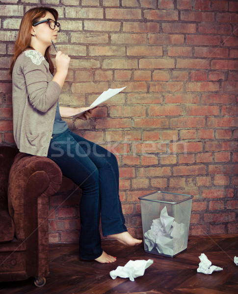 Young woman writer working  Stock photo © dashapetrenko