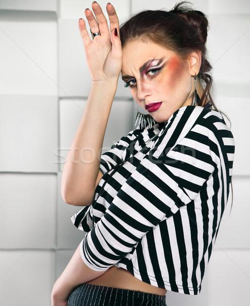 портрет девушки Cool составляют привлекательный панк Сток-фото © dashapetrenko