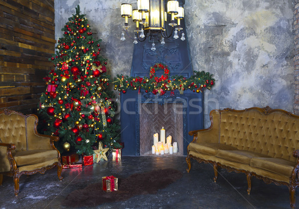 Christmas tree decorated by lights.  Stock photo © dashapetrenko