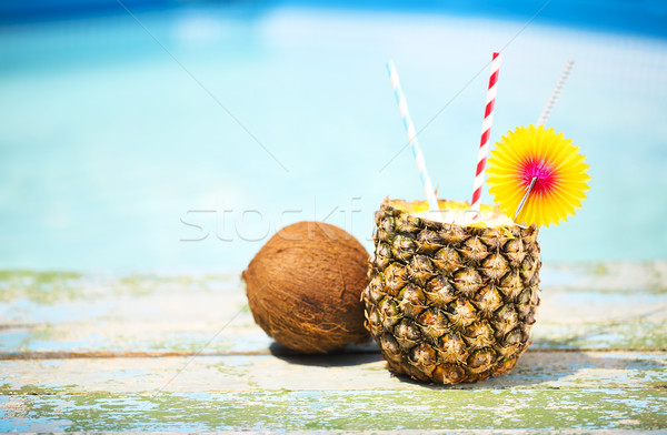 Photo stock: Exotique · ananas · cocktail · piscine · pina · colada · soleil