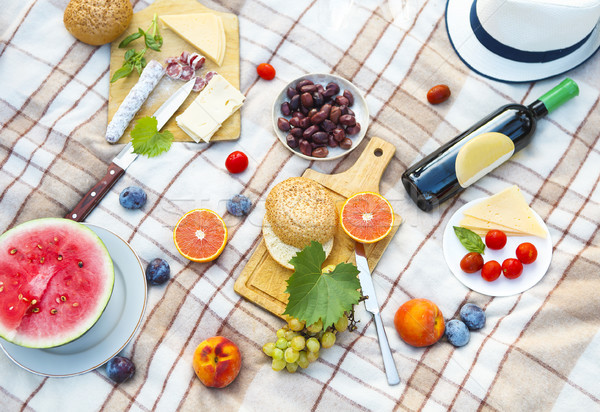 Top view summer garden picnic. Summer party Stock photo © dashapetrenko