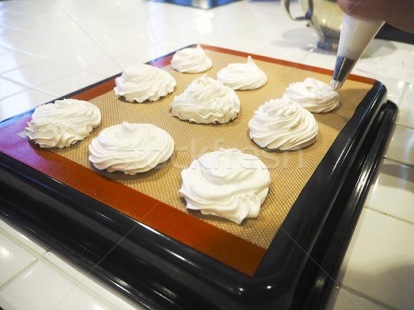 Chef making meringue Stock photo © dashapetrenko